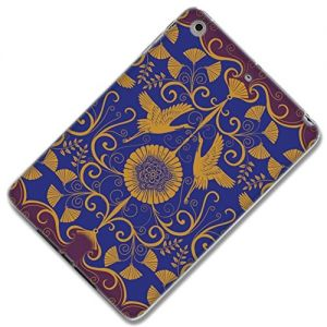 "Violet, Purple, and Gold {Vintage Vines with Cranes} Soft Silicone Cute 3D Fitted Bumper Back Cover Gel Case for iPad Mini 1, 2 and 3 by Apple ""All Ports Accessible"""