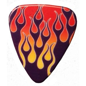 Unique and Custom (.76 MM Thick) Medium Gauge Hard Plastic, Traditional Style Semi Tip Guitar Pick w/Hot Rock n Roll Flaming Fire Design {Purple, Red & Orange - 5 Picks Multipack}