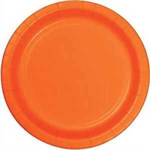 "Custom & Unique {10"" Inch} 24 Count Multi-Pack Set of Large Size Round Disposable Paper Plates w/ Single Colored Basic Simple Modern Halloween Celebration Event Party ""Bright Orange Colored"""