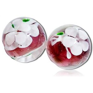 """Custom & Decorative {5/8"""" Inch} 2 Mid-Size """"Round"""" Glass Marbles w/Handmade Intricately Transparent Clear Flowers Floral Plant Vine Stem Girly Girl Bouquet Style [Green, Pink & White] + Certificate"""