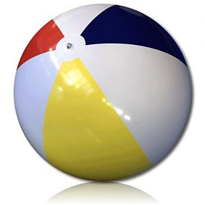 ULTRA Durable & Custom {8' Foot} 1 Single of XXLarge-Size Inflatable Beach Ball for Summer Fun, Made of Lightweight FLEX-Resin Plastic w/ Retro Thick Alternating Solid Wedge Stripes {Multicolor}