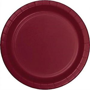 "Custom & Unique {7"" Inch} 24 Count Multi-Pack Set of Medium Size Round Circle Disposable Paper Plates w/ Single Colored Basic Simple Modern Festive Celebration Event Party ""Dark Maroon Red Colored"""