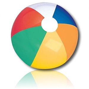 """ULTRA Durable & Custom {5"""" Inch} 30 Wholesale Pack of Small-Size Inflatable Beach Balls for Summer Fun, Made of Lightweight FLEX-Resin Plastic w/ Classic Umbrella Wedge Stripes Style {Multicolor}"""
