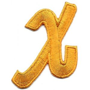 """SCRIPT LETTERS Golden Yellow  Script  2/"""" Letter /""""Q/"""" Iron On Embroidered Patch"""