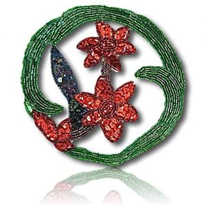 """Beautiful & Custom {5.5"""" Inch} 1 of [Sew-On & Glue-On] Embroidered Applique Patch Made of Beads & Sequins w/Wintertime Merry Christmas Wreath w/Beautiful Two Flower Design in Center {Multicolored}"""