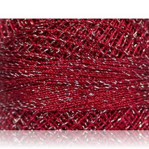 """Fabulous Crafts {2070 Total Yards / 200g} 10 Cakes Pack of Durable"""" Size 0 Lace Weight Fingering"""" Yarn for Knitting, Crochet & More, Made of 70% Polyester & 30% Lurex w/ICY Sty {Burgundy & Silver}"""