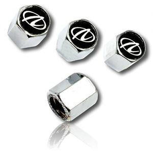 (4 Count) Cool & Custom Tire Wheel Rim Valve Stem Cap Cover Seal w/ Easy Grip Texture, Made of Hardened Rubber w/ Oldsmobile Logo In Metallic Mirrored Shiny Reflective Style {Silver, Black & White}