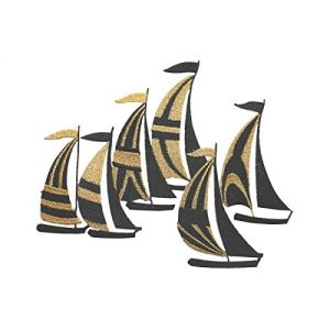 36d6899da2c99 ID 5070 Gold Sail Boats Large Patch Ocean Sea Race Embroidered Iron On  Applique