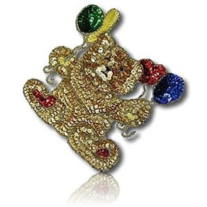 """Beautiful & Custom { 6"""" x 7"""" Inch} 1 of [Sew-On & Glue-On] Embroidered Applique Patch Made of Sequins & Beads w/Heavily Decorated Glittery Metallic Looking Teddy Bear w/Balloons Style {Multicolored}"""