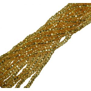 "Luxury & Custom {4mm w/ 1.5mm Hole} of Approx 340 Individual Loose Tiny Size Round ""Seed"" Beads Made of Genuine Glass w/ Sparkling Glimmer Silver Foil Lined Center on Strands {Gold}"