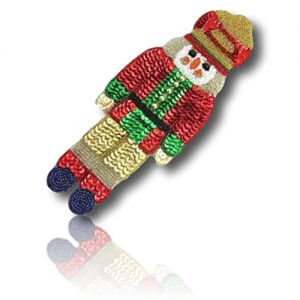"""Beautiful & Custom {9.5"""" x 3.5"""" Inch} 1 of [Sew-On & Glue-On] Embroidered Applique Patch Made of Beads & Sequins w/Chirstmas Holiday Nutcracker Standing in Attention Position Design {Multicolored}"""