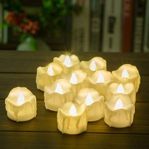 PChero Timer Candles, 12pcs Battery Operated LED Decorative Flameless Candles Flickering Tea Light, 6 Hours On 18 Hours Off Per Cycle, Perfect Birthday Wedding Party Home Decor - [Warm White]