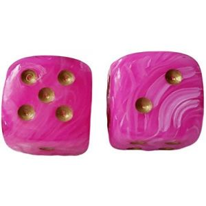Custom & Unique {Large Size 30mm} 2 Ct Pack Set of 6 Sided [D6] Square Cube Shape Playing & Game Dice w/ Rounded Corner Edges w/ Fancy Agate Pearl Gloss Design Design [Bright Hot Pink & Gold]