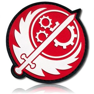 """[Single Count] Custom, Cool & Awesome {2.5"""" Inches} Round Circle Fallout Brotherhood Of Steel Sword w/Wings & Gears Emblem (Gaming Type) Hook & Loop Fastener Patch """"Black, White, Red"""" {LICENSED}"""