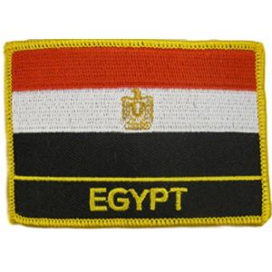 "[Single Count] Custom and Unique (2 1/4"" by 3 1/4"" Inches) Rectangle World Sights Egyptian Travel Souvenir Egypt Flag Iron On Embroidered Applique Patch {Red, White, Gold & Black Colors}"