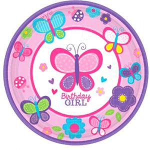 "Custom & Unique {7"" Inch} 18 Count Multi-Pack Set of Medium Size Round Circle Disposable Paper Plates w/ Girly Butterfly Ladybug Collage Birthday Girl Text ""Pink, Purple, Blue & Green Colored"""