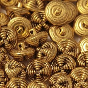 """Fancy & Decorative {19mm w/ 1 Back Hole} 12 Pack of Medium Size Round """"Box Type Shank"""" Sewing & Craft Buttons Made of Plated Plastic w/ Antiqued Golden Vintage Radial Domed Design {Gold}"""