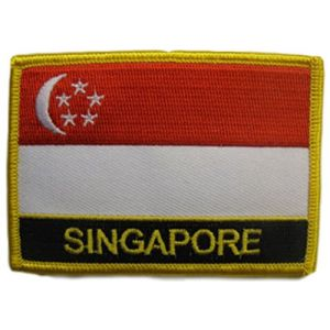 "[Single Count] Custom and Unique (2 1/4"" by 3 1/4"" Inches) Rectangle Travel Souvenir Singapore Text Flag Iron On Embroidered Applique Patch {Red, White, Gold & Black Colors}"