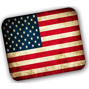 "Custom & Decorative {9.25"" x 7.75"" Inch} 1 Single, Mid-Size Flexible Non-Slip Mousepad for Gaming, Made Of Easy-Glide Neoprene w/ Warn United States Country Flag Style [Red, Blue, & White]"