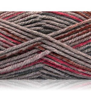 """Fabulous Crafts {480 Total Yards / 400g} 4 Skeins Pack of Durable"""" Size 5 Bulky Thick Chunky"""" Yarn for Knitting, Crochet & More, Made of Acrylic & Polyamide w/Pine Shade Style {Brown, Pink, Grey}"""