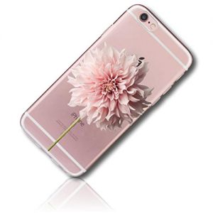 mySimple Custom Made FLEX-Gel Silicone Fitted Case for Apple iPhone 7 PLUS w/ Soft Flexible Shock Absorbing Bumper Guard Edge & Large Flowering Dahlia Blossom Long Slender Stem {Clear, Pink & Green}