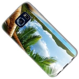 """Blue, Green and Brown {Relaxing Beach View} Soft and Smooth Silicone Cute 3D Fitted Bumper Back Cover Gel Case for Samsung Galaxy S6 """"Durable and Slim Flexible Fashion Cover with Amazing and Creative Cartoon Design - All Ports Accessible"""""""