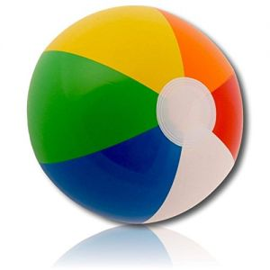 "ULTRA Durable & Custom {12"" Inch} 12 Bulk Pack of Small-Size Inflatable Beach Balls for Summer Fun, Made of Lightweight FLEX-Resin Plastic w/ Colorful Swirl Bright Light Rainbow Striped {Multicolor}"