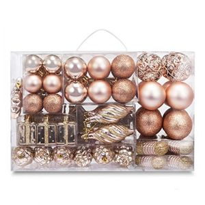 AMS 72ct Christmas Ball Assorted Pendant Shatterproof Ball Ornament Set Seasonal Decorations with Reusable Hand-Help Gift Boxes Ideal for Xmas, Holiday and Party(72ct, Champagne)
