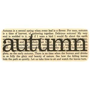 """{Single Count} Unique & Custom (3 3/4"""" by 1 1/2"""" Inches) """"Autumn Poem Word Collage"""" Rectangle Shaped Genuine Wood Mounted Rubber Inking Stamp"""