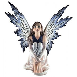 """Custom & Unique {13.5"""" x 11.5"""" Inch} 1 Single, Home & Garden """"Standing"""" Figurine Decoration Made of Grade A Resin w/ Beautiful Woman Snow Flake Fairy Sitting Style {Blue, White, tan, & Black}"""