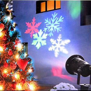 Christmas Lights, Colorful Moving Snowflake Light Projector Holiday Outdoor Decorations Waterproof for Landscape Garden Halloween Thanksgiving Christmas Party