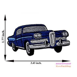 """""""Classic Vintage Car Patch"""" Iron on Patch 1.77""""x3.43"""" Appliques Hat Cap Polo Backpack Clothing Jacket Shirt DIY Embroidered Iron on / Sew on Patch"""