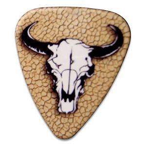 "Unique and Custom (.76 MM Thick) Medium Gauge Hard Plastic, Traditional Style""Semi Tip"" Guitar Pick w/Rancher Western Cowboy Steer Head Horns Skull Design {Black, Tan & White - 5 Picks Multipack}"