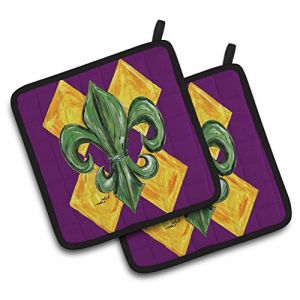 """Custom & Durable {7.5"""" X 7.5"""" Inch Each} 2 Set Pack Mid Size """"Non-Slip"""" Pot Holders Made of Cotton for Carrying Hot Dishes w/ Painted Treasures Abstract Mardi Gras Party Style [Green, White, & Black]"""