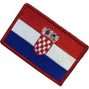 "[Single Count] Custom, Cool & Awesome {2.15"" x 3.4"" Inches} Small Rectangle Bordered Croatia Croatian Flag Shield Crest European Souvenir Design (Military Type) Velcro Patch ""Red, White & Blue"""