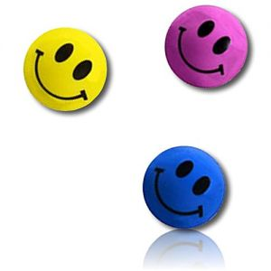 Custom & Unique {27mm} 250 Bulk Pack, Mid-Size Super High Bouncy Balls, Made of Grade A+ Rebound Rubber w/ Bright Solid Happy Classic Retro Smiling Grinning Beaming Emoji (Pink, Yellow, Black & Blue)