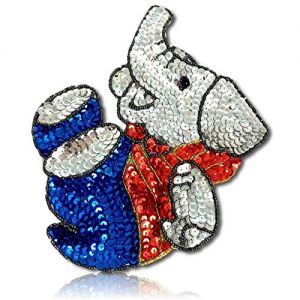 "Beautiful & Custom {6.5"" x 5.5"" Inch} 10 Pack of [Sew-On & Glue-On] Embroidered Applique Patch Made of Sequins & Beads w/Sweet Baby Elephant in Playful Mode w/Cute Dress Style {Red, Blue, Silver}"