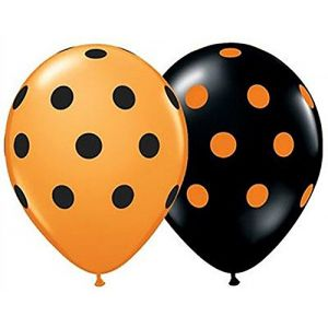 "Custom, Fun & Cool {Medium Size 11"" Inch} 25 Pack of Helium & Air Inflatable Latex Rubber Balloons w/ Unique Bright Two Tone Polka Dot Festive Happy Halloween Spotted Design [In Orange & Black]"