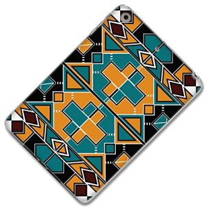 """Teal, Orange, and Black {African Geometric Tribal Pattern} Soft Silicone Cute 3D Fitted Bumper Gel Case for iPad Mini 1, 2 and 3 by Apple """"Durable Cover with Cartoon Design - All Ports Accessible"""""""