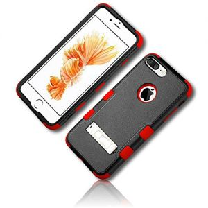mySimple 3 Piece SECURE-Fit Rubberized Gel Hybrid Case w/2 Layered SHOCKPROOF Protection for Apple iPhone 7 w/Ruby Crimson Scarlet Cherry Ebony Jet Pitch Raven Midnight {Black & Red} w/Kickstand