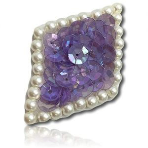 """Beautiful & Custom {2"""" Inch} 1 of [Sew-On & Glue-On] Embroidered Applique Patch Made of Sequins & Beads w/Delightful & Engaging Basic Diamond Shape w/Pretty Pearl Border Sty {Iridescent Lavender}"""