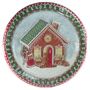 "Custom & Unique {10 1/2"" Inch} 8 Count Multi-Pack Set of Medium Size Round Disposable Paper Plates w/Winter Snowfall Gingerbread House & Men ""Green, Red, Brown & Blue Colored"""