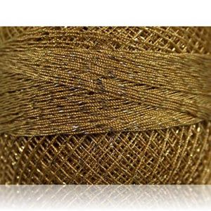 """Fabulous Crafts {2070 Total Yards /200g} 10 Cakes Pack of Durable"""" Size 0 Lace Weight Fingering"""" Yarn for Knitting, Crochet & More, Made of 70% Polyester & 30% Lurex w/Egypt St {Gold & Light Brown}"""