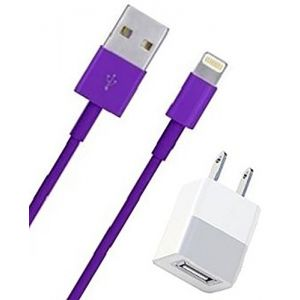 mySimple [6' Foot - Single Pack] of 8 Pin to USB 2.0 Data Sync Charger w/Smooth Outer Jacket Made of Rubber w/Royal Feminine Design for Apple iPads, iPods & iPhones {Purple Colors w/Wall Adapter