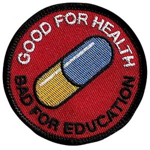 """[Single Count] Custom, Cool & Awesome {3"""" Inches} Small Good for health bad education Pill Akira Japanese anime Morale (Anime Type) Velcro Patch """"Red, Black, Blue & White"""""""