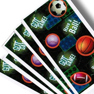 """Custom & Decorative {1"""" to 2"""" Inch} 20 Piece Pack of Mid-Size Stickers for Arts, Crafts & Scrapbooking w/ Bouncing Foot, Basket, & Soccer Balls Sports Theme w/ """"Got Game"""" {Red, Blue & Brown}"""