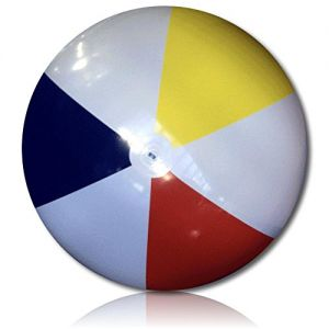 """ULTRA Durable & Custom {8"""" Feet} 1 Single of XXLarge-Size Inflatable Beach Ball for Summer Fun, Made of Lightweight FLEX-Resin Plastic w/ Retro Thick Alternating Solid Wedge Stripes Style {Multicolor}"""