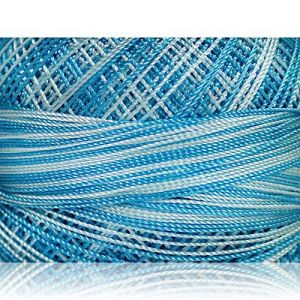 """Fabulous Crafts {1638 Total Yards / 300g} 6 Cakes Pack of Durable"""" Size 0 Lace Weight Fingering"""" Yarn for Knitting, Crochet & More, Made of 100% Micro Fiber w/Sapphire Sky Design {Blue Shades}"""