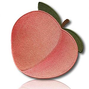 """[1 Count ] Custom and Unique (1.9""""Inch) """"Fruit"""" Emoticon of Stunningly Beautiful & Luscious Fresh Delicious Ripe Juicy Decorative Peach Emoji Iron On Embroidered Applique Patch {Red & Green Colors}"""