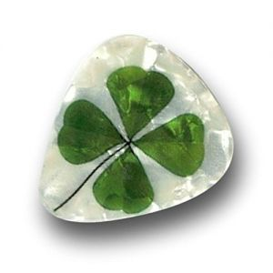 "Unique and Custom (.76 MM Thick) Medium Gauge Hard Plastic, Traditional Style""Semi Tip"" Guitar Pick w/Pearly Realistic Spring Shamrock Design {White & Green - 12 Picks Dozen Bulk Multipack}"